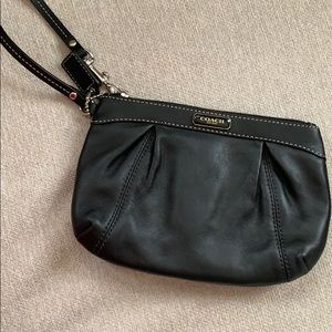 Black Leather Coach Wristlet